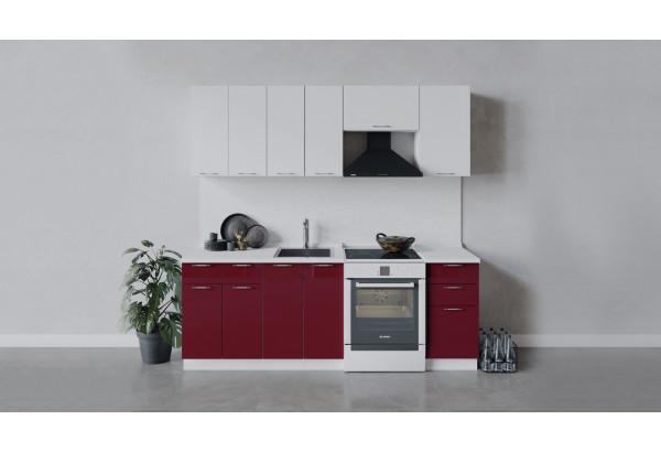 Кухонный гарнитур «Весна» длиной 220 см (Белый/Белый глянец/Бордо глянец) - фото 1