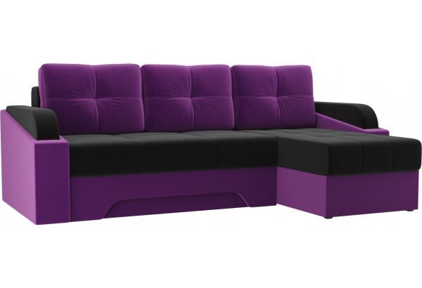Угловой диван Панда черный/фиолетовый (Микровельвет) - фото 1