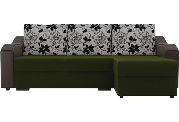 Угловой диван Монако Зеленый/Коричневый/Цветы (Микровельвет/экокожа/рогожка) - фото 2