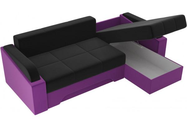 Угловой диван Панда черный/фиолетовый (Микровельвет) - фото 5