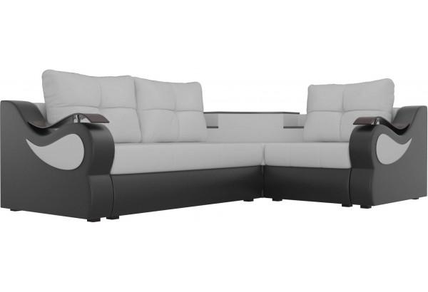 Угловой диван Митчелл Белый/Черный (Экокожа) - фото 3