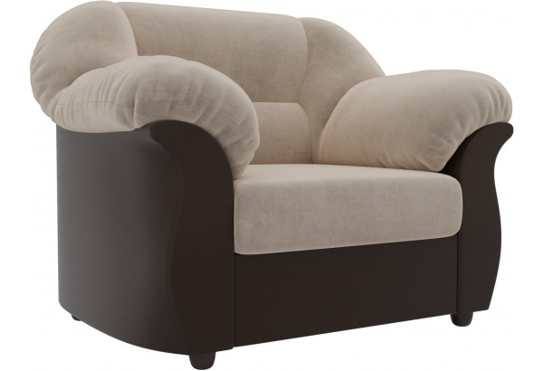 Кресло Карнелла бежевый/коричневый (Велюр/Экокожа) - фото 1