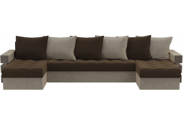 П-образный диван Венеция Коричневый/Бежевый (Микровельвет) - фото 2