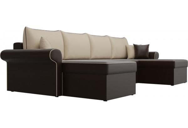 П-образный диван Милфорд Коричневый/Бежевый (Экокожа) - фото 3