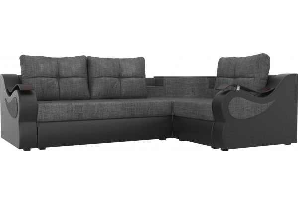 Угловой диван Митчелл Серый/черный (Рогожка/Экокожа) - фото 1