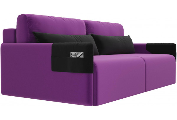 Прямой диван Армада Фиолетовый/Черный (Микровельвет) - фото 3