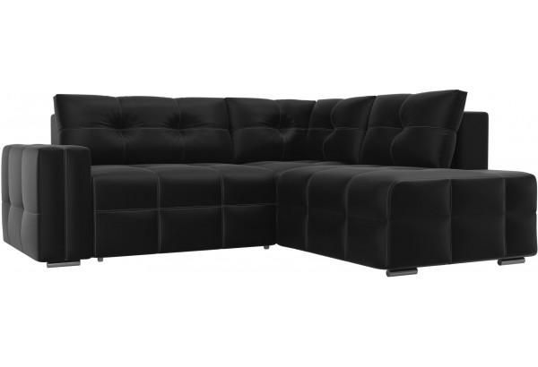 Угловой диван Леос Черный (Экокожа) - фото 1