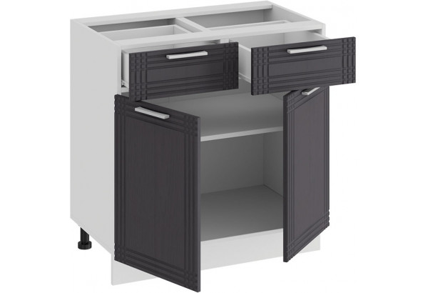 Шкаф напольный с двумя ящиками и двумя дверями «Ольга» (Белый/Графит) - фото 2
