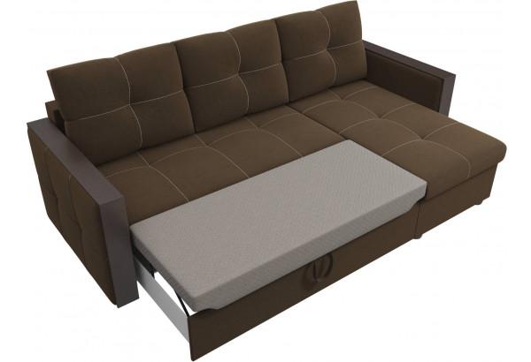 Угловой диван Валенсия Коричневый (Микровельвет) - фото 6