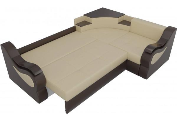 Угловой диван Митчелл бежевый/коричневый (Экокожа) - фото 7