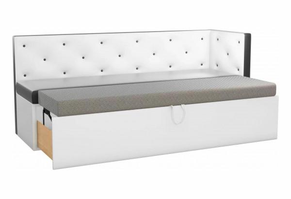 Кухонный диван Салвадор с углом Черный/Белый (Экокожа) - фото 2