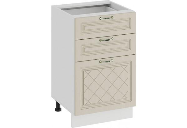 Шкаф напольный с тремя ящиками «Бьянка» (Белый/Дуб ваниль) - фото 1
