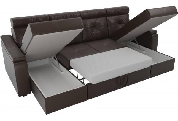 П-образный диван Джастин Коричневый (Экокожа) - фото 5