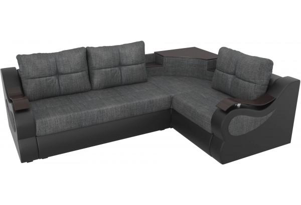 Угловой диван Митчелл Серый/черный (Рогожка/Экокожа) - фото 4