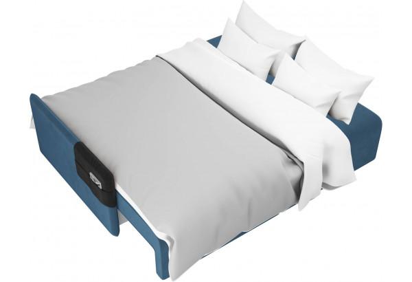 Прямой диван Армада голубой/черный (Велюр) - фото 8
