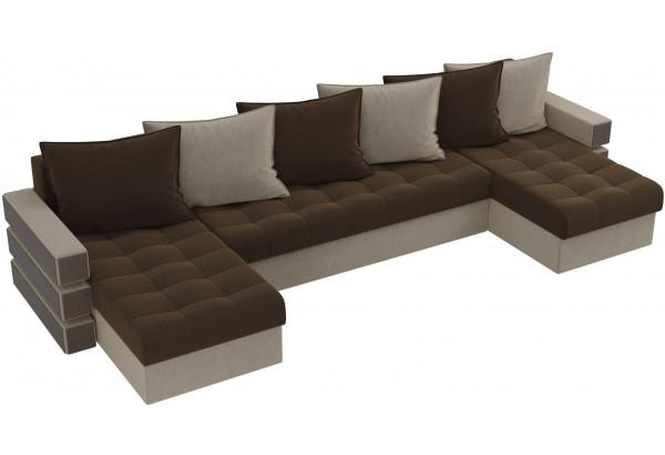 П-образный диван Венеция Коричневый/Бежевый (Микровельвет) - фото 4