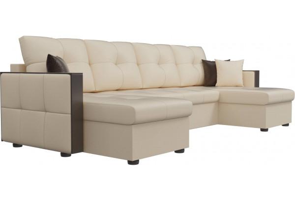 П-образный диван Валенсия Бежевый (Экокожа) - фото 3
