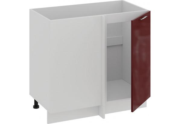 Шкаф напольный угловой «Весна» (Белый/Бордо глянец) - фото 2