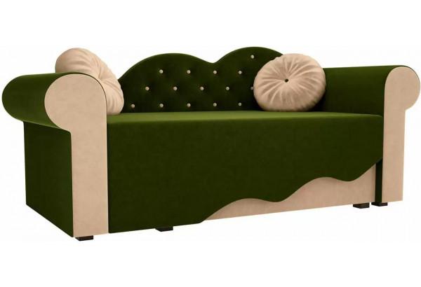 Детская кровать Тедди-2 Зеленый/Бежевый (Микровельвет) - фото 1