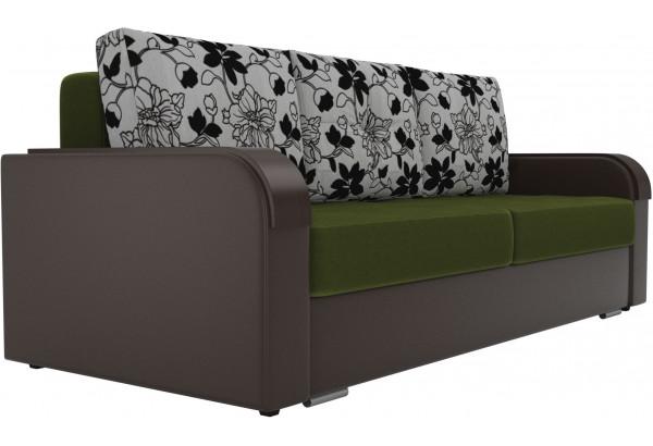 Прямой диван Мейсон зеленый/коричневый (Микровельвет/Экокожа/флок на рогожке) - фото 3