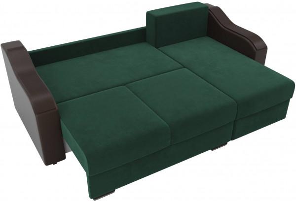 Угловой диван Монако зеленый/коричневый (Велюр/Экокожа) - фото 7