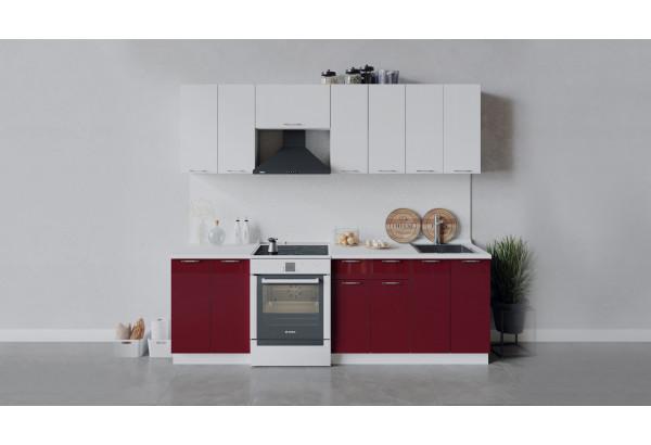 Кухонный гарнитур «Весна» длиной 240 см (Белый/Белый глянец/Бордо глянец) - фото 1