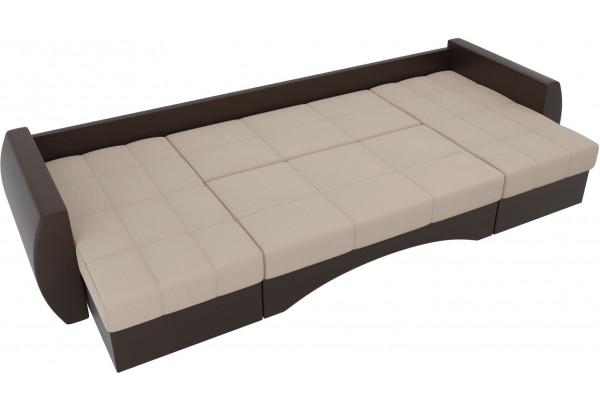 П-образный диван Сатурн бежевый/коричневый (Рогожка/Экокожа) - фото 6