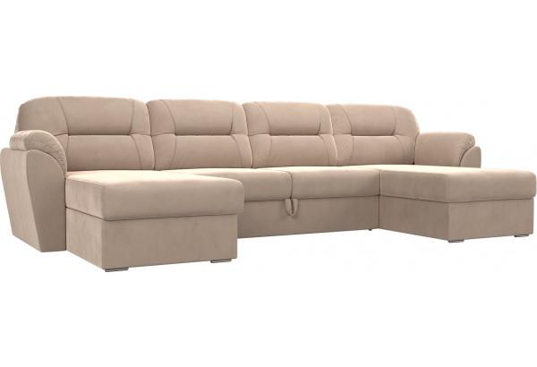 П-образный диван Бостон Бежевый (Велюр) - фото 1