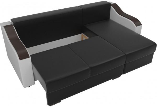 Угловой диван Монако Черный/Белый/Белый (Экокожа) - фото 6