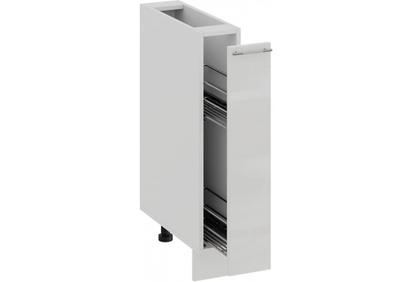 Шкаф напольный с выдвижной корзиной «Весна» (Белый/Белый глянец) - фото 2