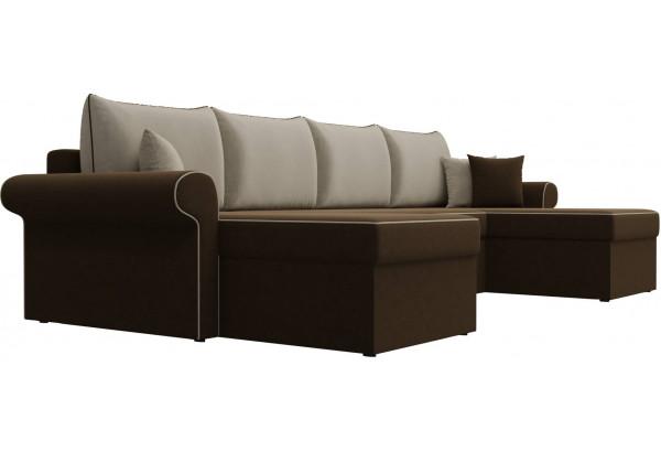 П-образный диван Милфорд Коричневый/Бежевый (Микровельвет) - фото 3