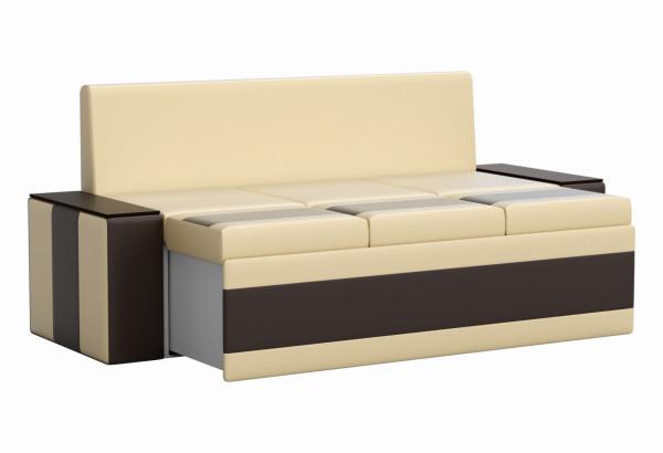 Кухонный прямой диван Лина бежевый/коричневый (Экокожа) - фото 3
