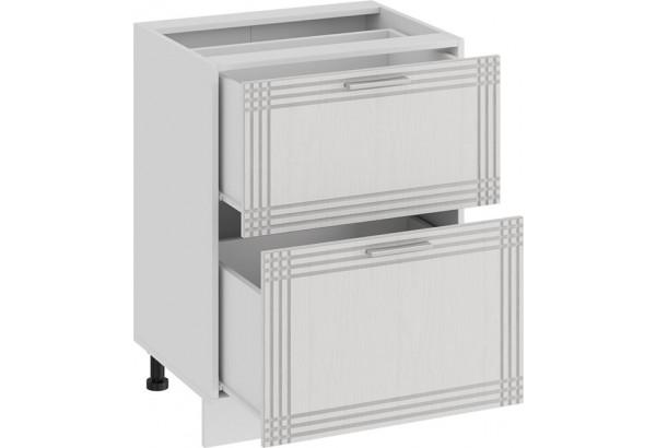 Шкаф напольный с двумя ящиками «Ольга» (Белый/Белый) - фото 2