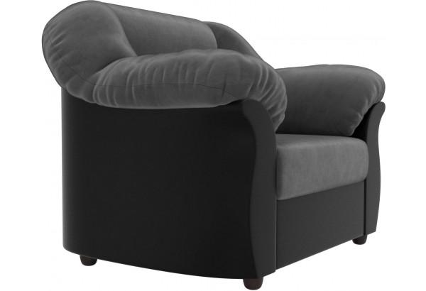 Кресло Карнелла Серый/черный (Велюр/Экокожа) - фото 3