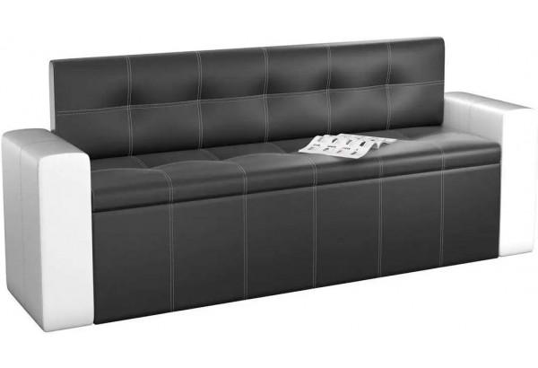 Кухонный прямой диван Династия Черный/Белый (Экокожа) - фото 1