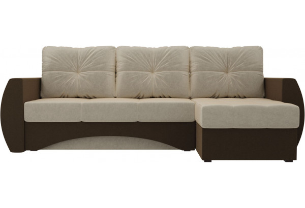 Угловой диван Сатурн бежевый/коричневый (Микровельвет) - фото 2