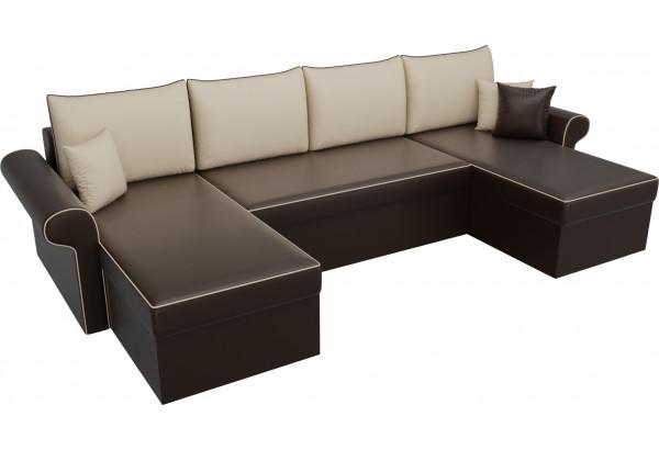 П-образный диван Милфорд Коричневый/Бежевый (Экокожа) - фото 4
