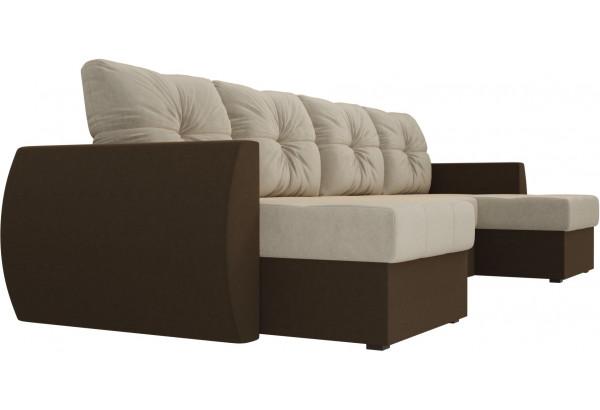 П-образный диван Сатурн бежевый/коричневый (Микровельвет) - фото 3