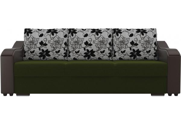 Прямой диван Монако зеленый/коричневый (Микровельвет/Экокожа/флок на рогожке) - фото 2