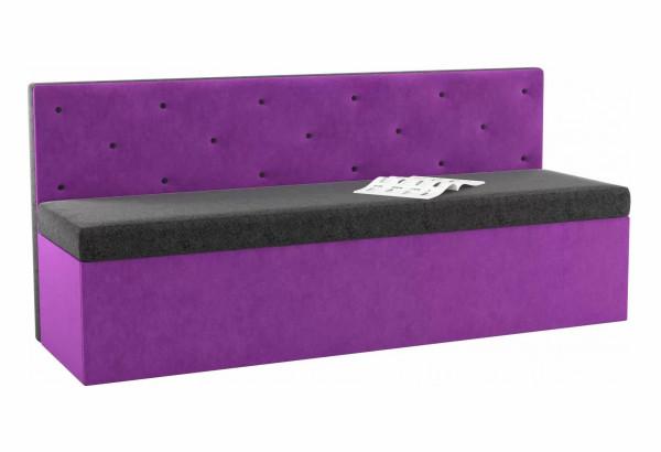 Кухонный прямой диван Салвадор черный/фиолетовый (Микровельвет) - фото 1