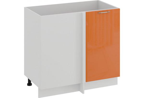 Шкаф напольный угловой «Весна» (Белый/Оранж глянец) - фото 1