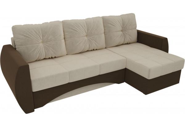 Угловой диван Сатурн бежевый/коричневый (Микровельвет) - фото 4