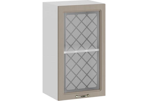 Шкаф навесной c одной дверью со стеклом «Бьянка» (Белый/Дуб кофе) - фото 1