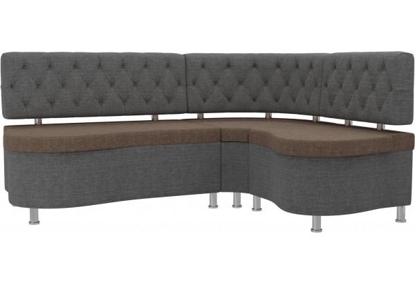 Кухонный угловой диван Вегас коричневый/Серый (Рогожка) - фото 1