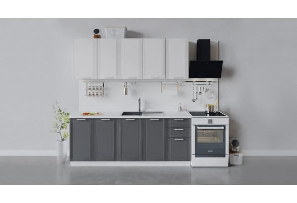 Кухонный гарнитур «Ольга» длиной 200 см (Белый/Белый/Графит) - фото 1