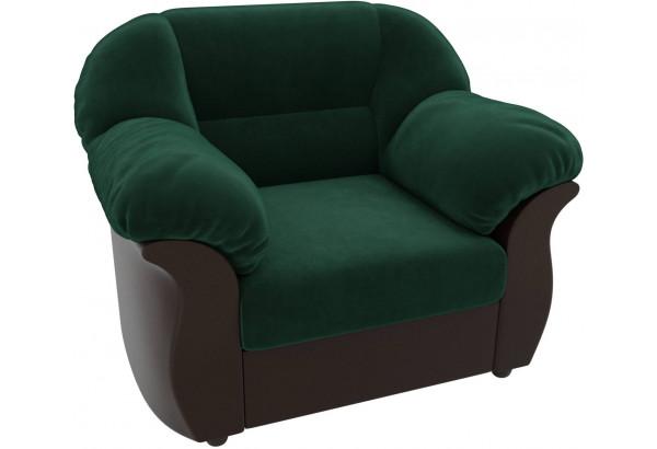 Кресло Карнелла зеленый/коричневый (Велюр/Экокожа) - фото 4