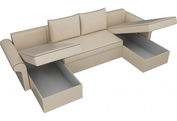 П-образный диван Милфорд Бежевый (Экокожа) - фото 5