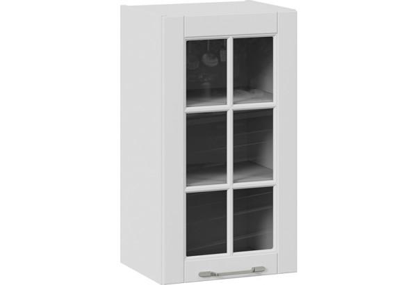 Шкаф навесной cо стеклом (СКАЙ (Белоснежный софт)) - фото 1