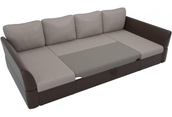 П-образный диван Гесен бежевый/коричневый (Рогожка/Экокожа) - фото 6