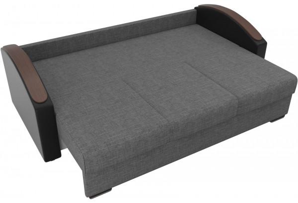 Прямой диван Монако slide Серый/черный (Рогожка/Экокожа) - фото 6